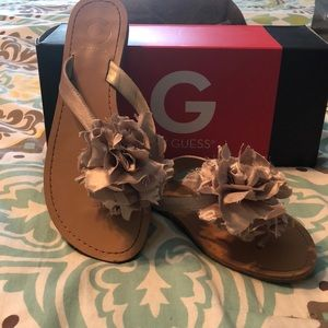 G by Guess Gold Ruffle Flower Sandal - size 7.5